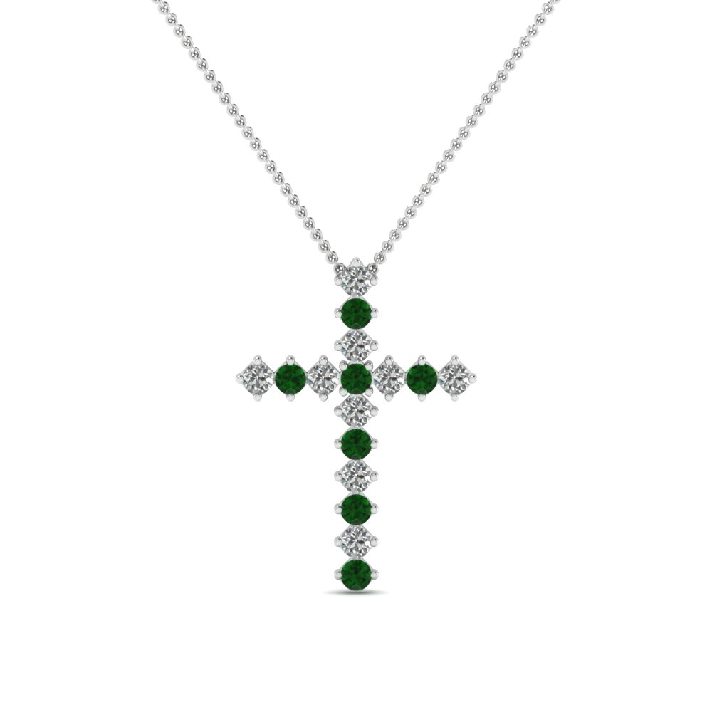white-gold-round-green-emerald-cross-religious-pendant-with-white-diamond-in-prong-set-FDRPD203GEMGR-NL-WG