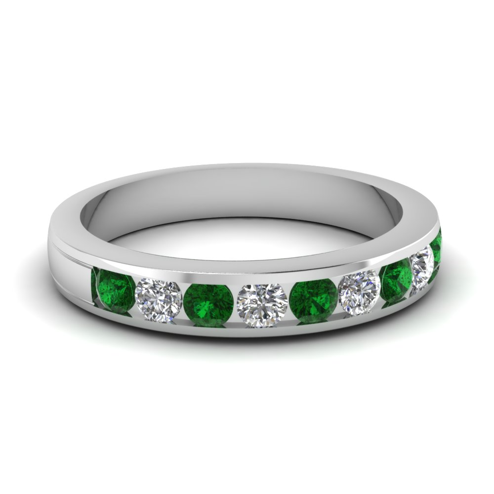 Channel Set Diamond And Emerald Womens Wedding Band