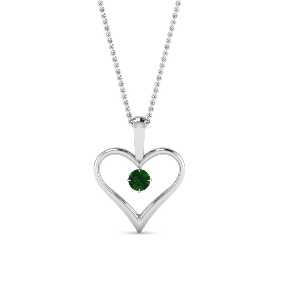 Open heart emerald solitaire drop pendant in 14k white gold open heart emerald solitaire drop pendant in fdpd60961gemgr nl wg aloadofball