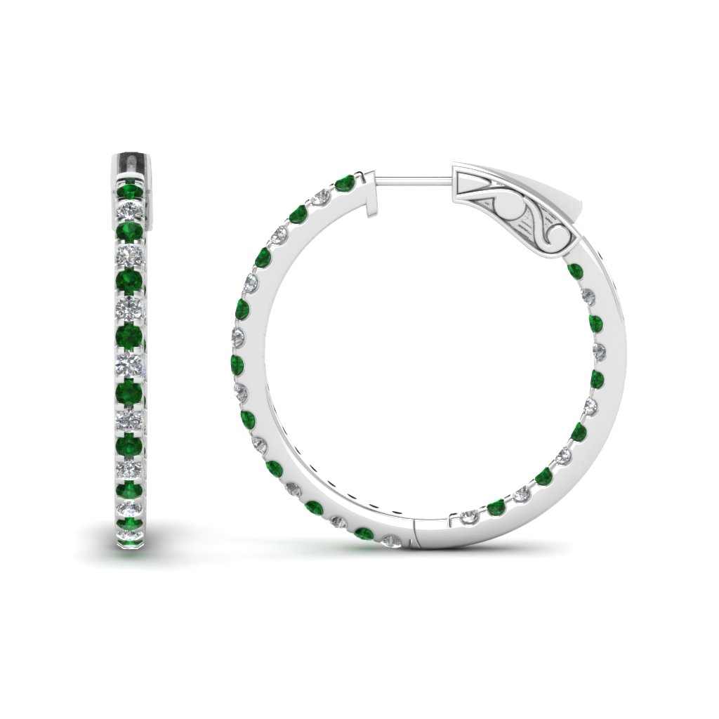 1 carat diamond in and out hoop earring with emerald in FDEAR650183GEMGR NL WG