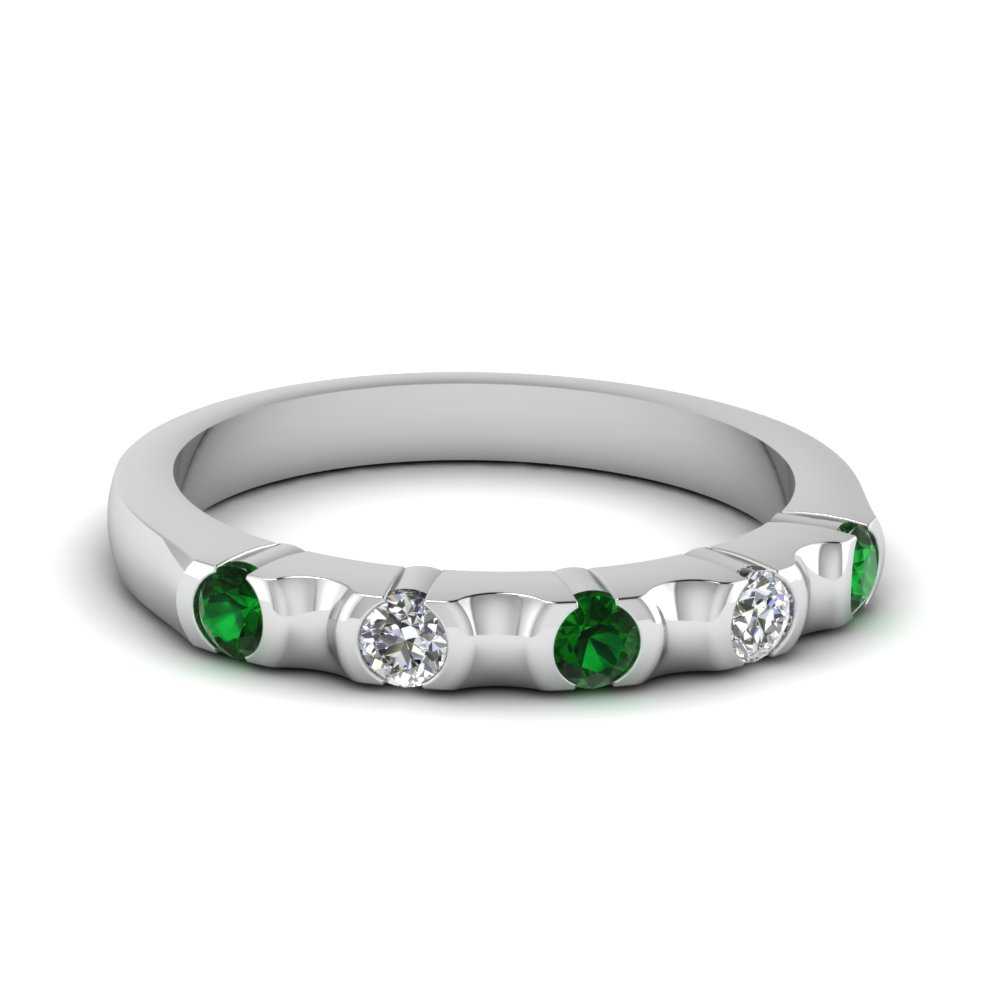 half bezel 5 stone wedding band with emerald in FD120316BGEMGR NL WG