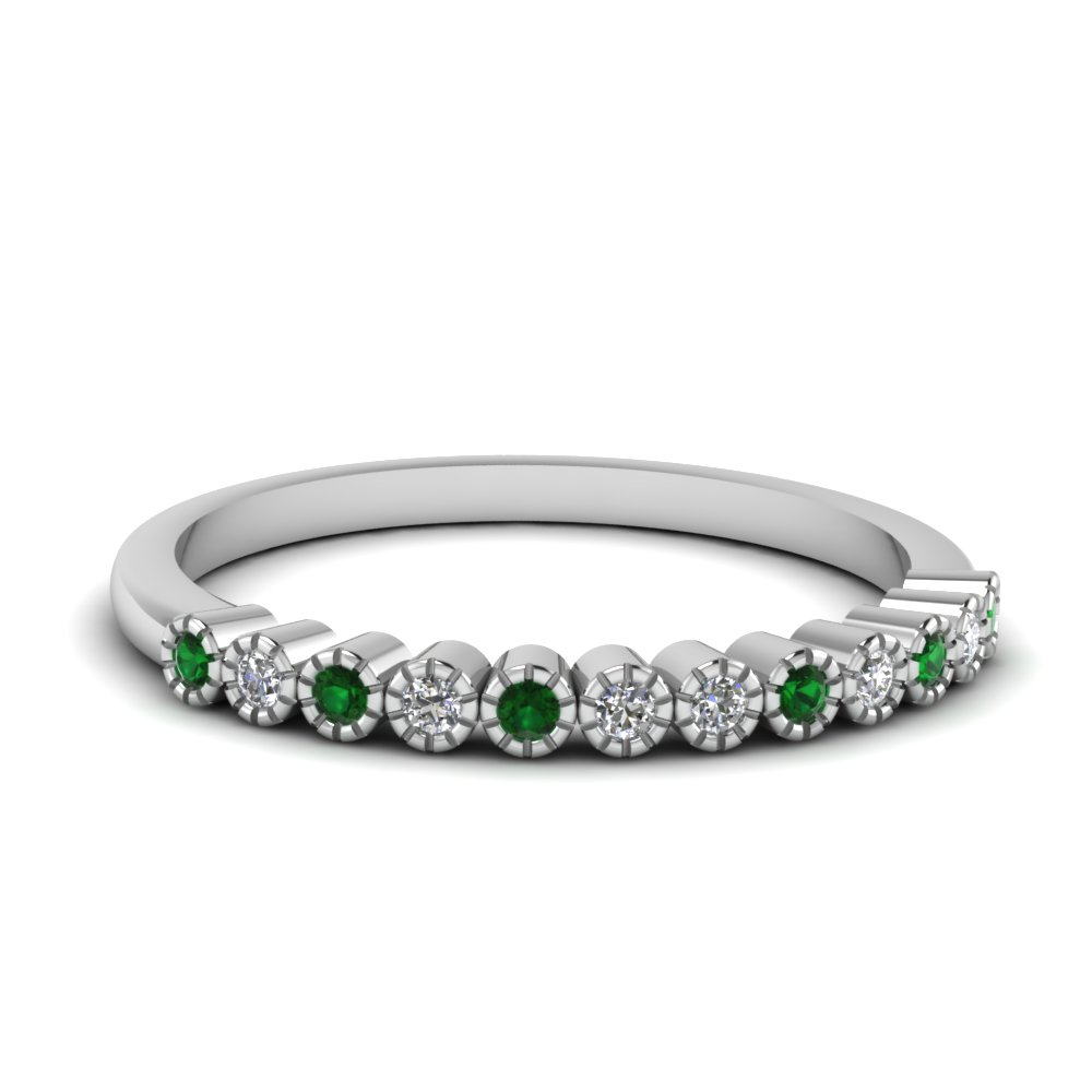 Womens Wedding Band With Emerald