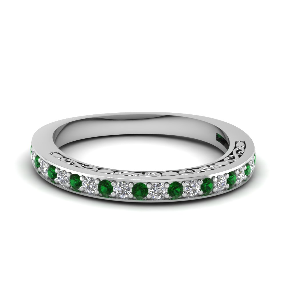 Delicate Filigree Emerald Wedding Ring