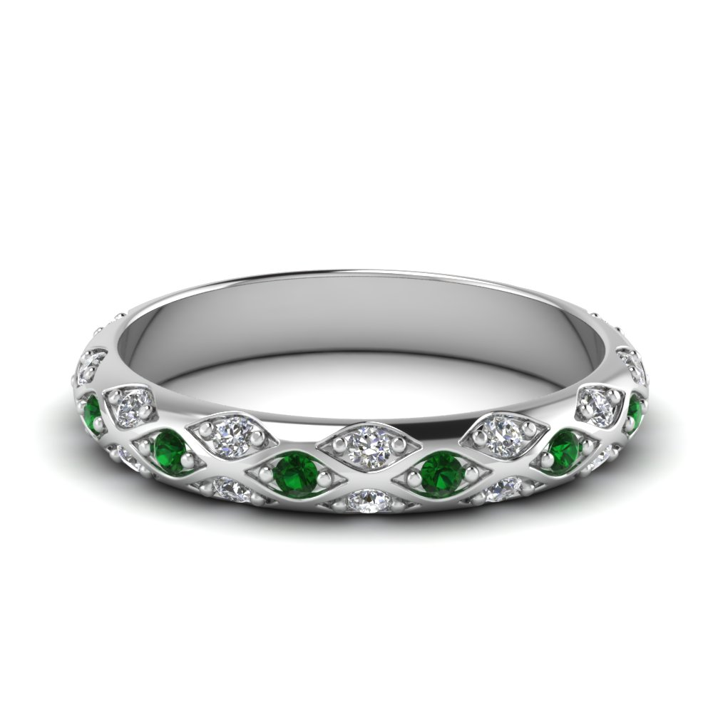 white gold round green emerald wedding band with