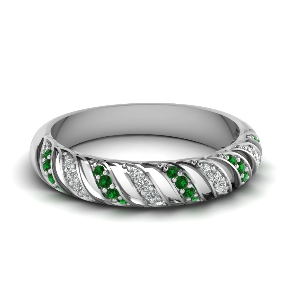 14k white gold green emerald wedding band fascinating for Emerald green wedding ring