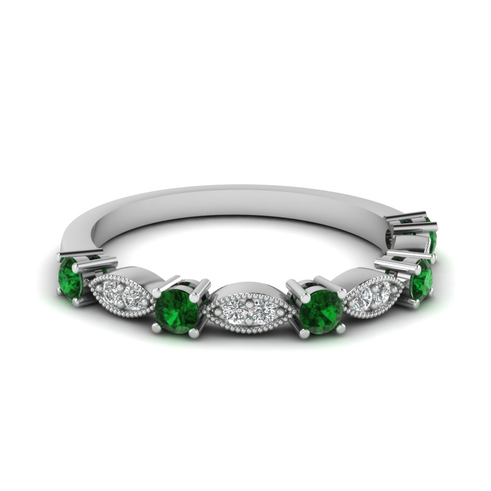 shared bands yellow in yg nl wedding emerald set with jewelry white gold green band stone anniversary round prong diamond