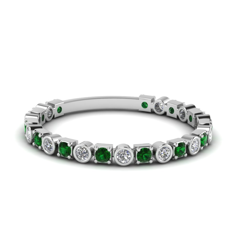 Bezel & Pave Emerald Wedding Band