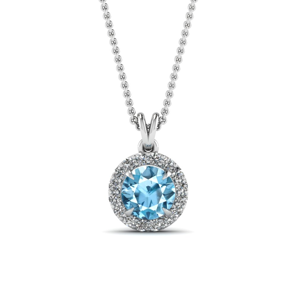 blue toapaz halo pendant diamond necklace in FDPD2992GICBLTO Nl WG