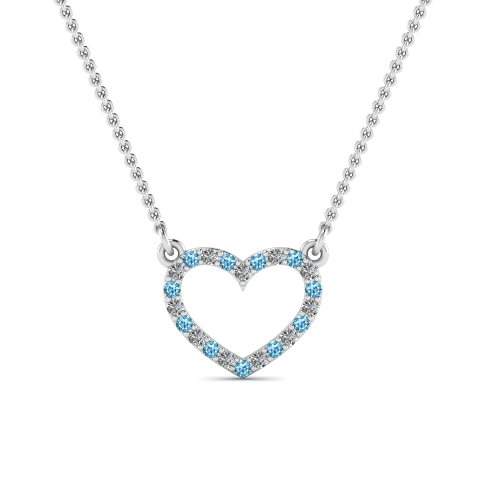 open heart diamond and blue topaz pendant in FDPD66415GICBLTO NL WG