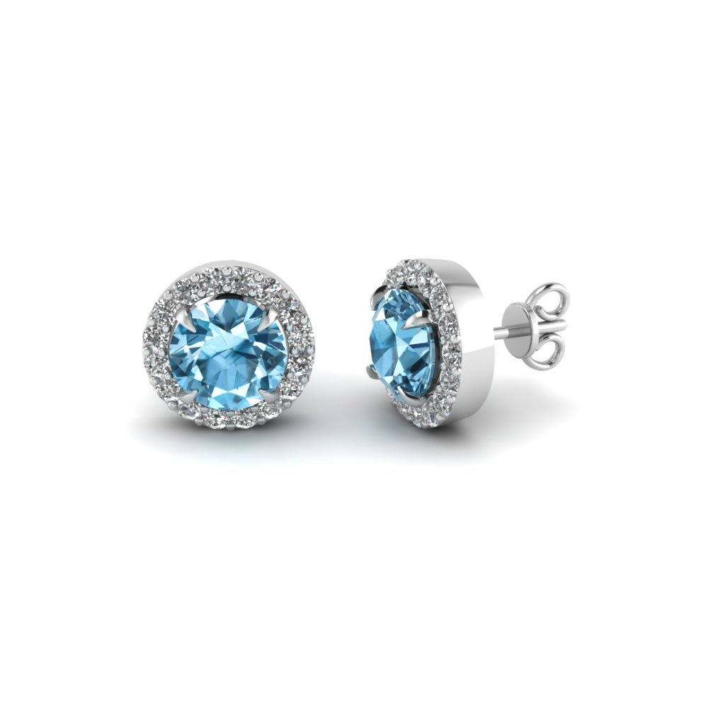 White Gold Round Ice Blue Topaz Stud Earrings