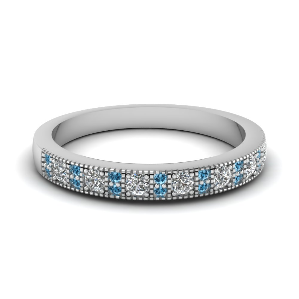 Vintage Diamond Wedding Band With Blue Topaz In 14K White Gold