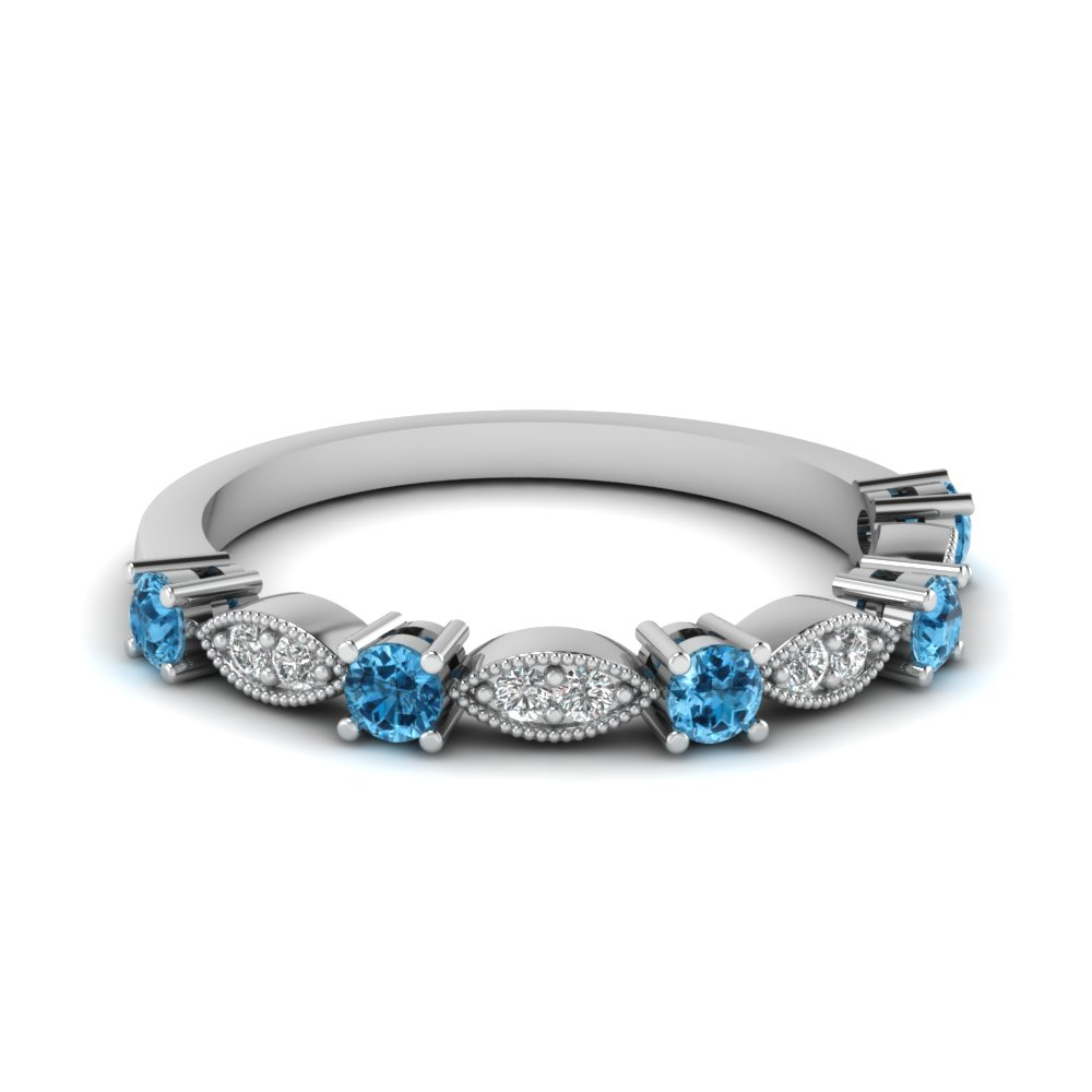 Art Deco Round Diamond Wedding Band With Blue Topaz In 18K White