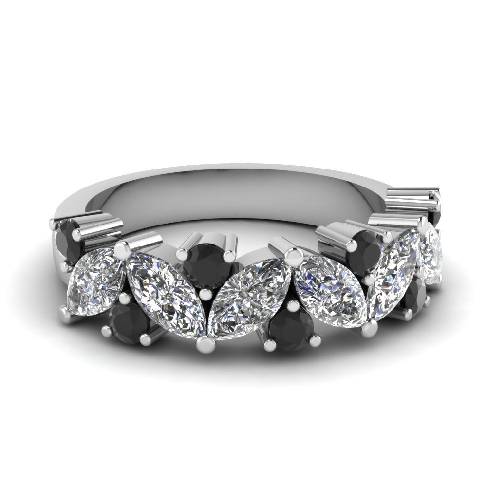 Marquise Cut Platinum Wedding Band