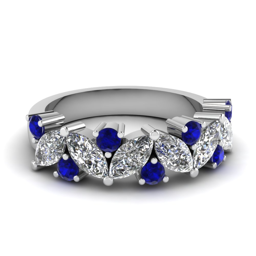Marquise Diamond Wedding Ring With Sapphire In 14K White Gold