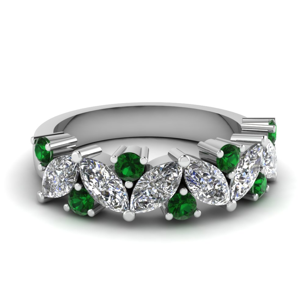 marquise diamond wedding ring with emerald in fdwb2308bgemgr nl wg - Wedding Rings And Bands