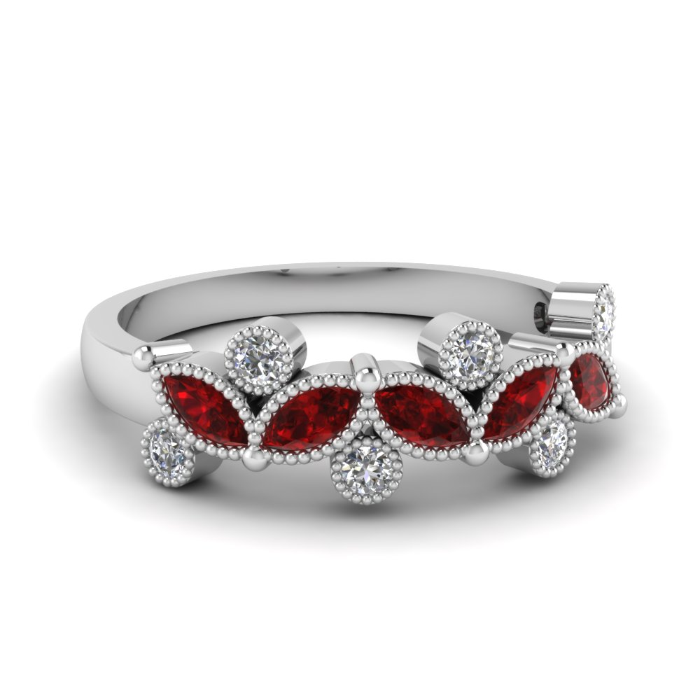 Marquise Cut Milgrain Ruby Band