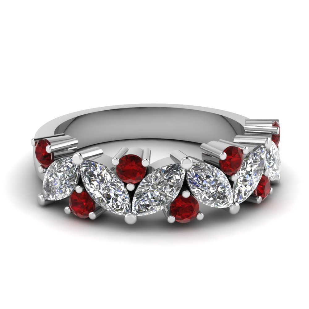Marquise Diamond Wedding Ring With Ruby In FDWB2308BGRUDR NL WG