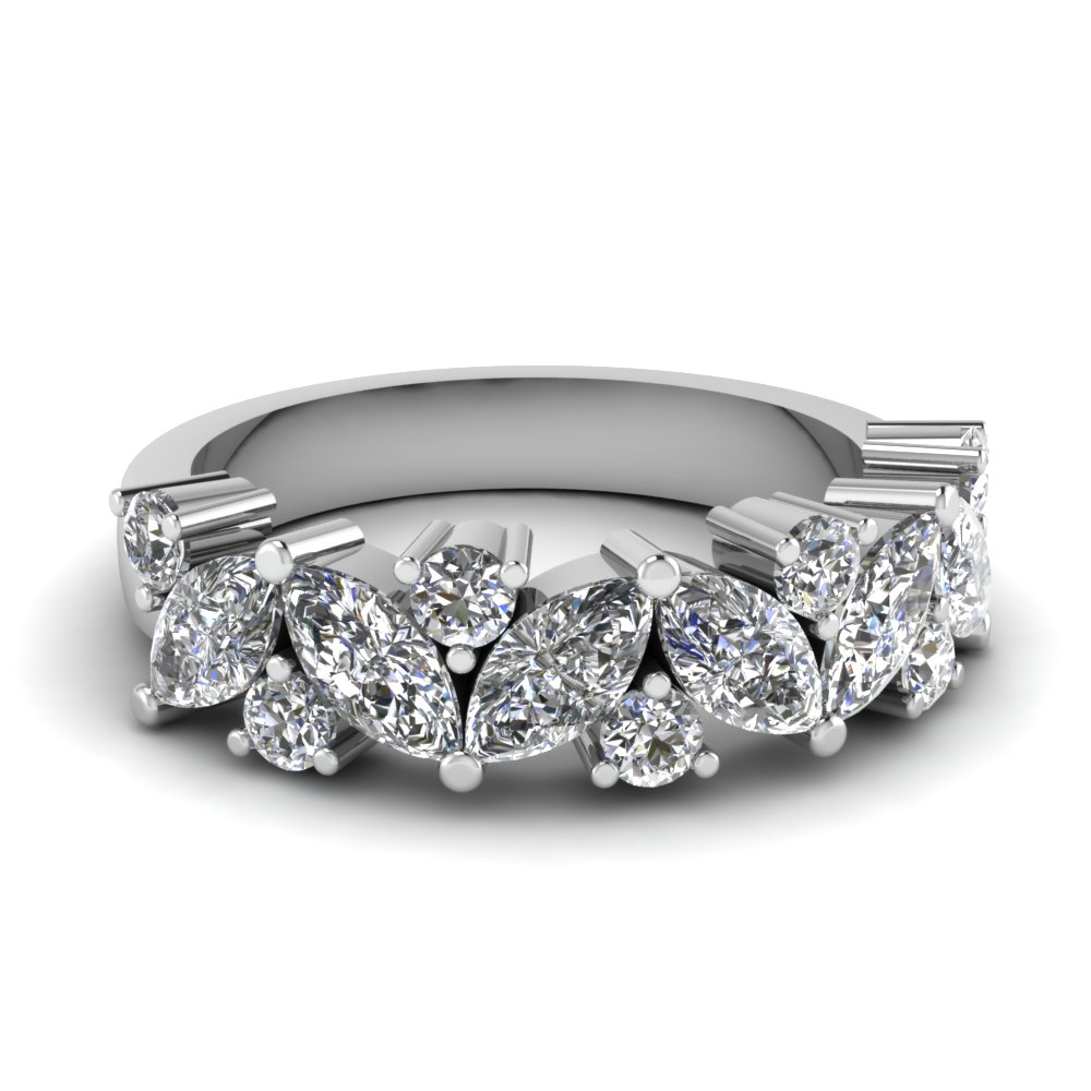 Marquise diamond wedding ring in 14k white gold for White diamond wedding ring