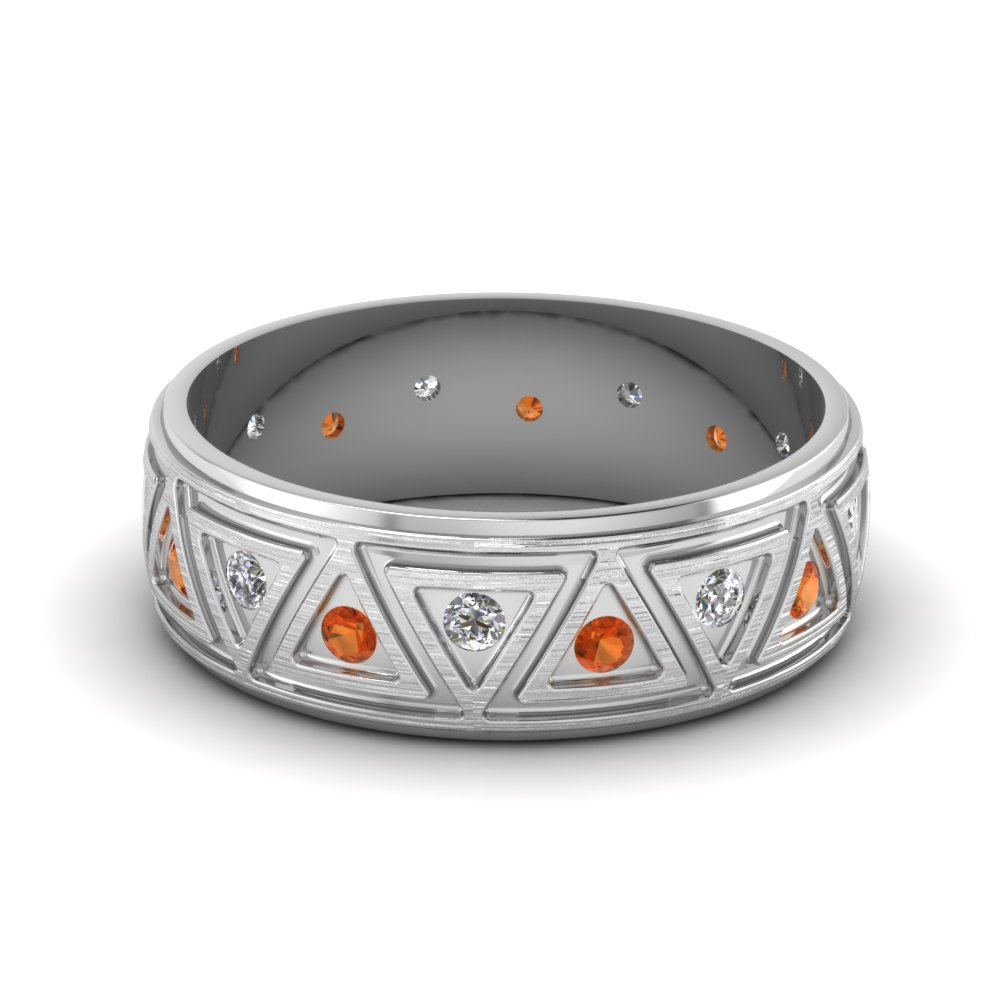 brushed finish diamond wedding band with orange sapphire in FDDB1085BGSAOR NL WG