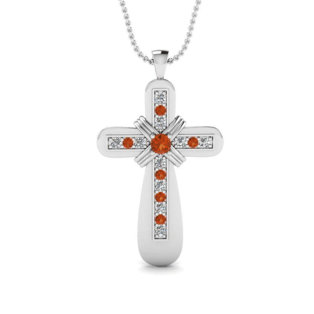 White gold round orange sapphire religious pendant with white white gold round orange sapphire religious pendant with aloadofball Gallery