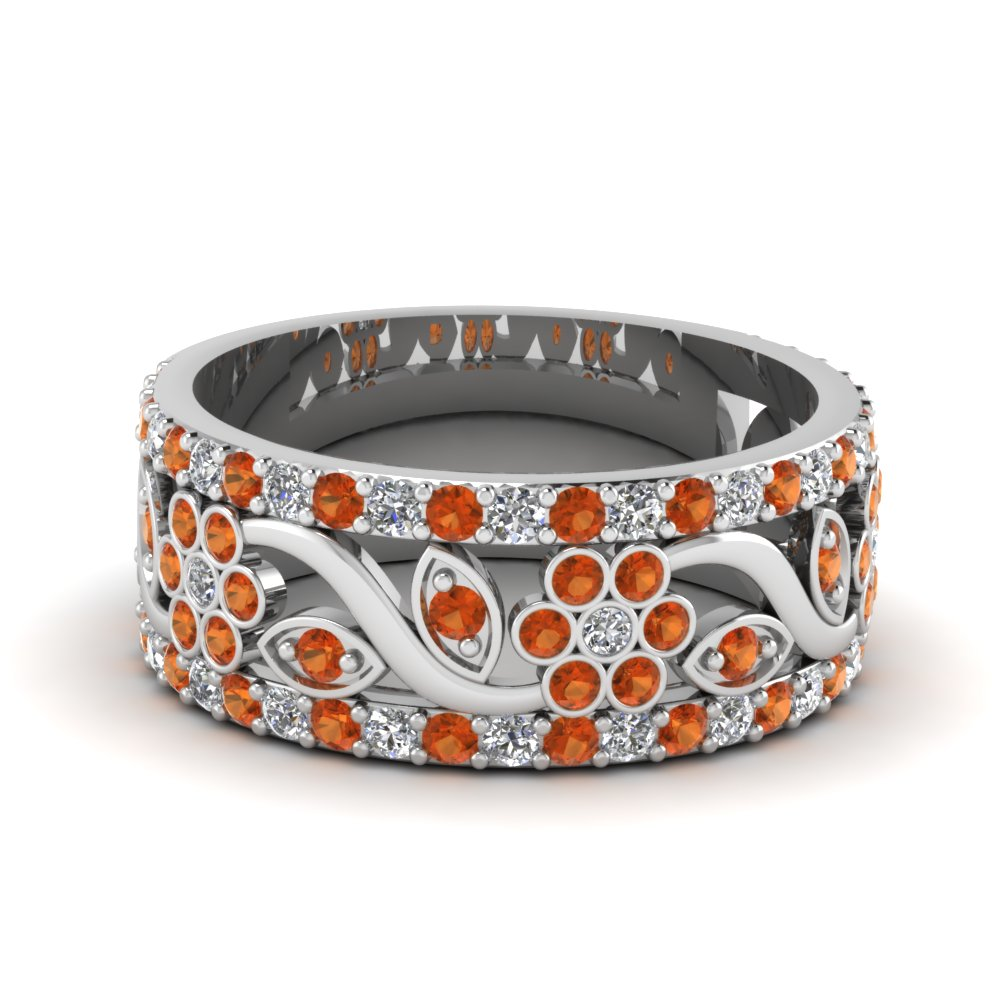 flower wide diamond anniversary band with orange sapphire in FD121690BGSAOR NL WG