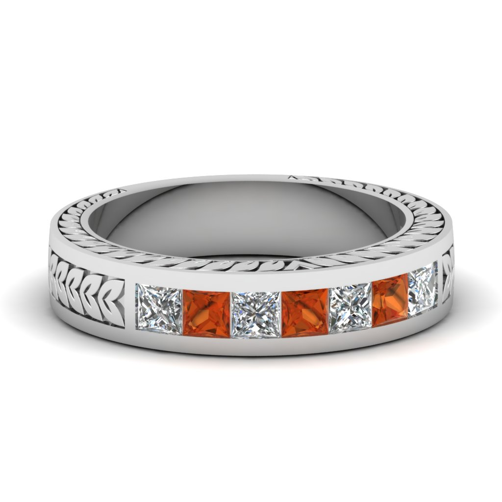 Womens Wedding Bands with Orange Sapphire in 14K White Gold