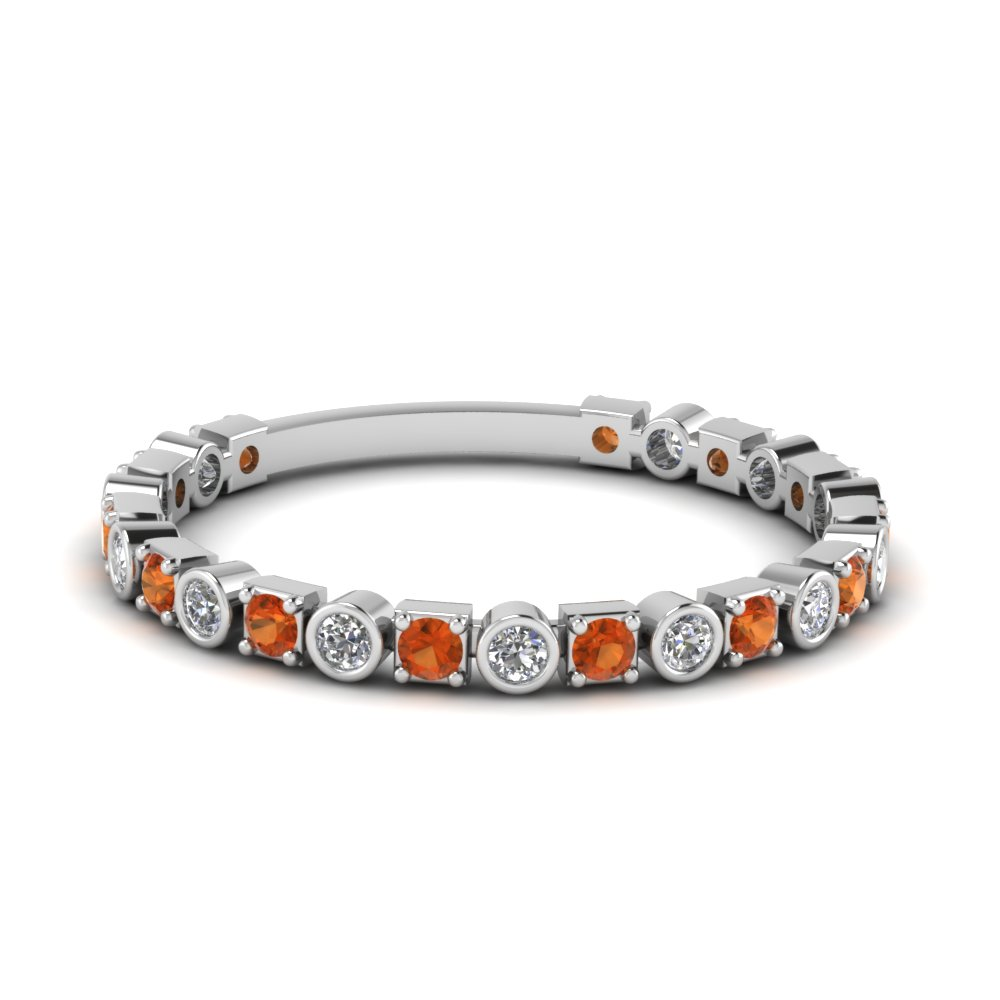 Beautiful Womens Wedding Bands With Orange Sapphires | Fascinating Diamonds