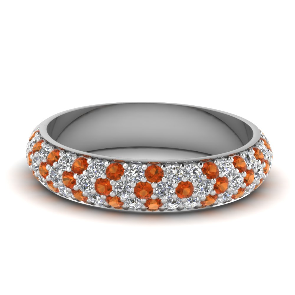 micro pave diamond wedding band with orange sapphire in FD121926BGSAOR NL WG