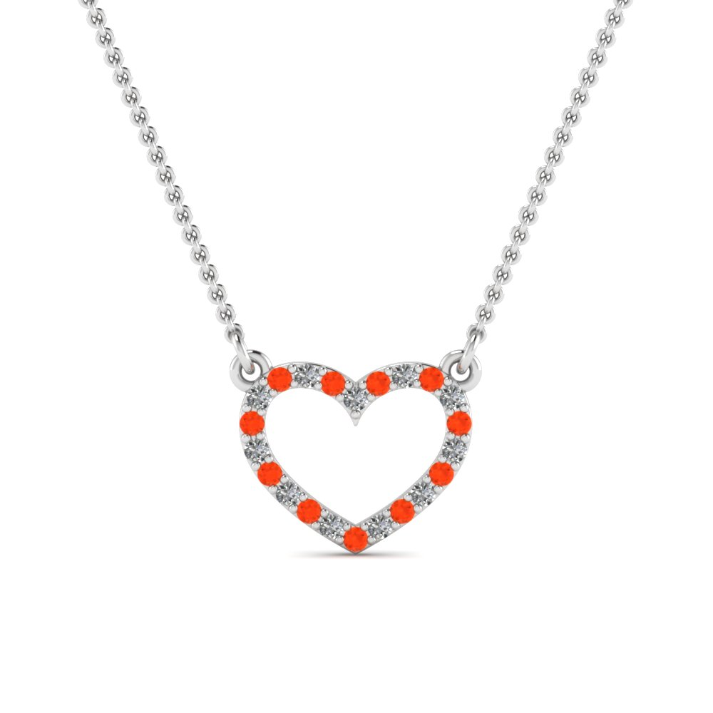 open heart diamond and orange topaz pendant in FDPD66415GPOTO NL WG