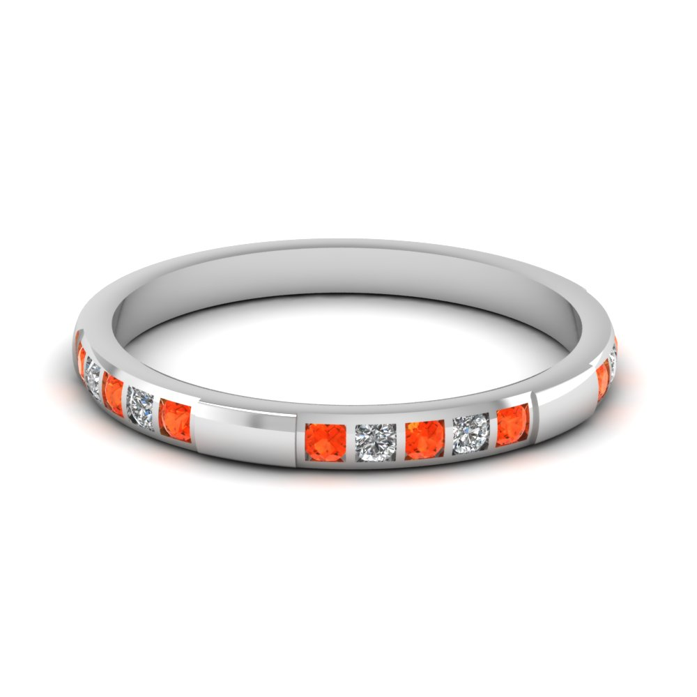 bar diamond stackable wedding band with orange topaz in FD651021BGPOTO NL WG