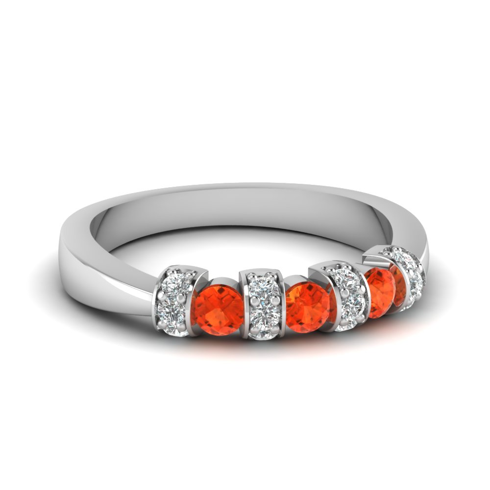 tapered diamond pave band with orange topaz in FD62205BGPOTO NL WG