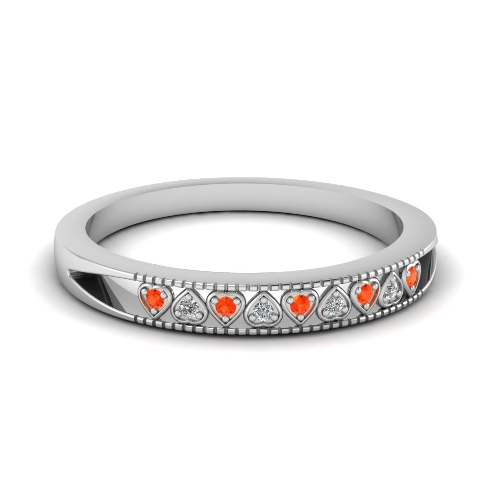 Orange Topaz And Round Diamond Heart Milgrain Wedding Band