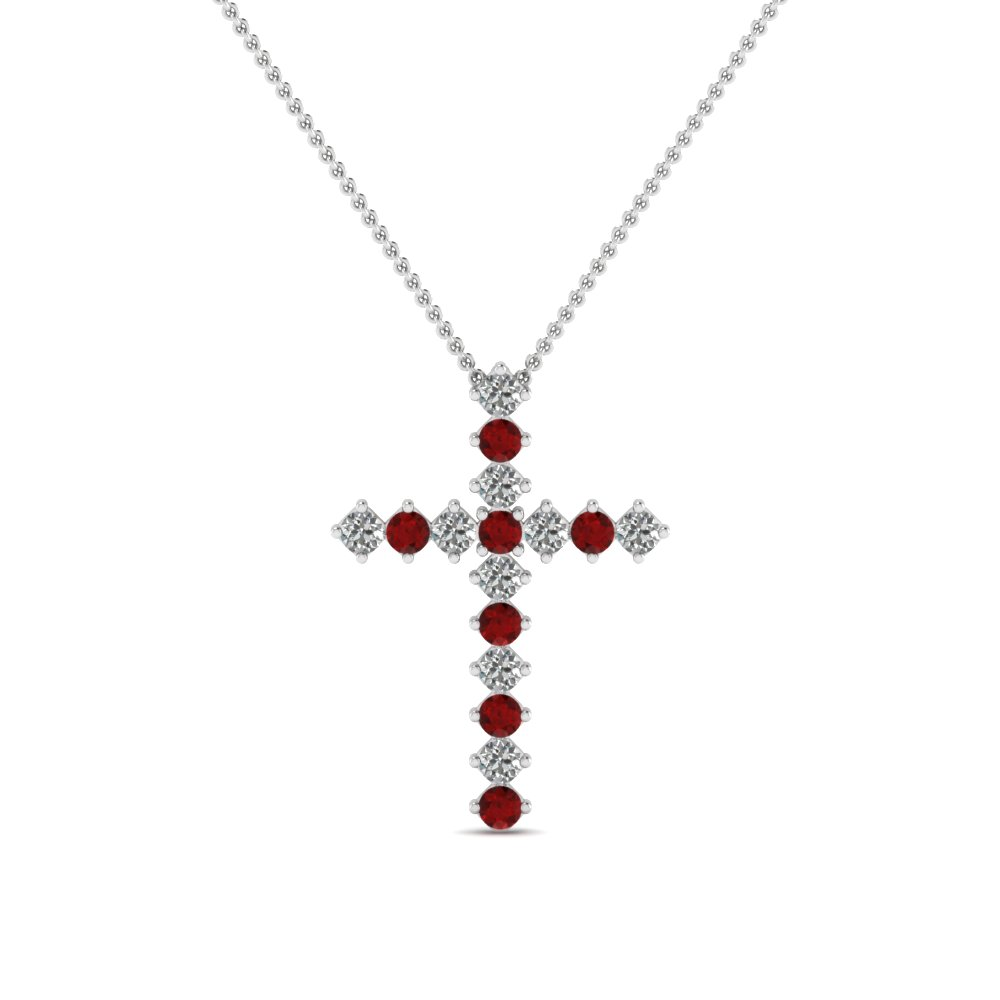 white-gold-round-red-ruby-cross-religious-pendant-with-white-diamond-in-prong-set-FDRPD203GRUDR-NL-WG