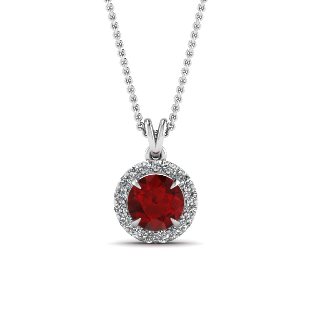 Fancy Diamond And Ruby Pendant