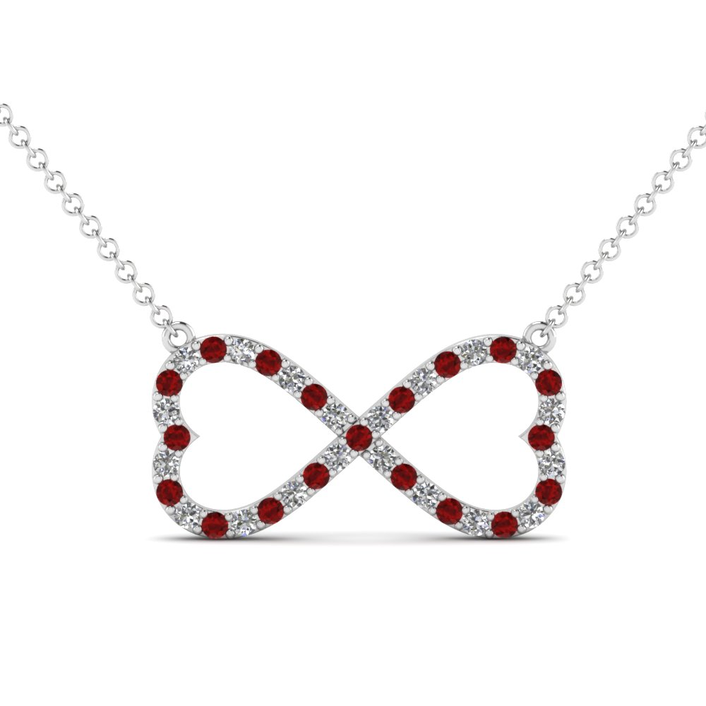 Infinity diamond pendant with ruby in 14k white gold fascinating infinity diamond pendant with ruby in fdhpd477grudr nl wg aloadofball Image collections