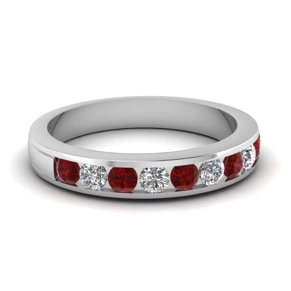 bands and vintage in ring diamond set halo white oval ruby anniversary gold image