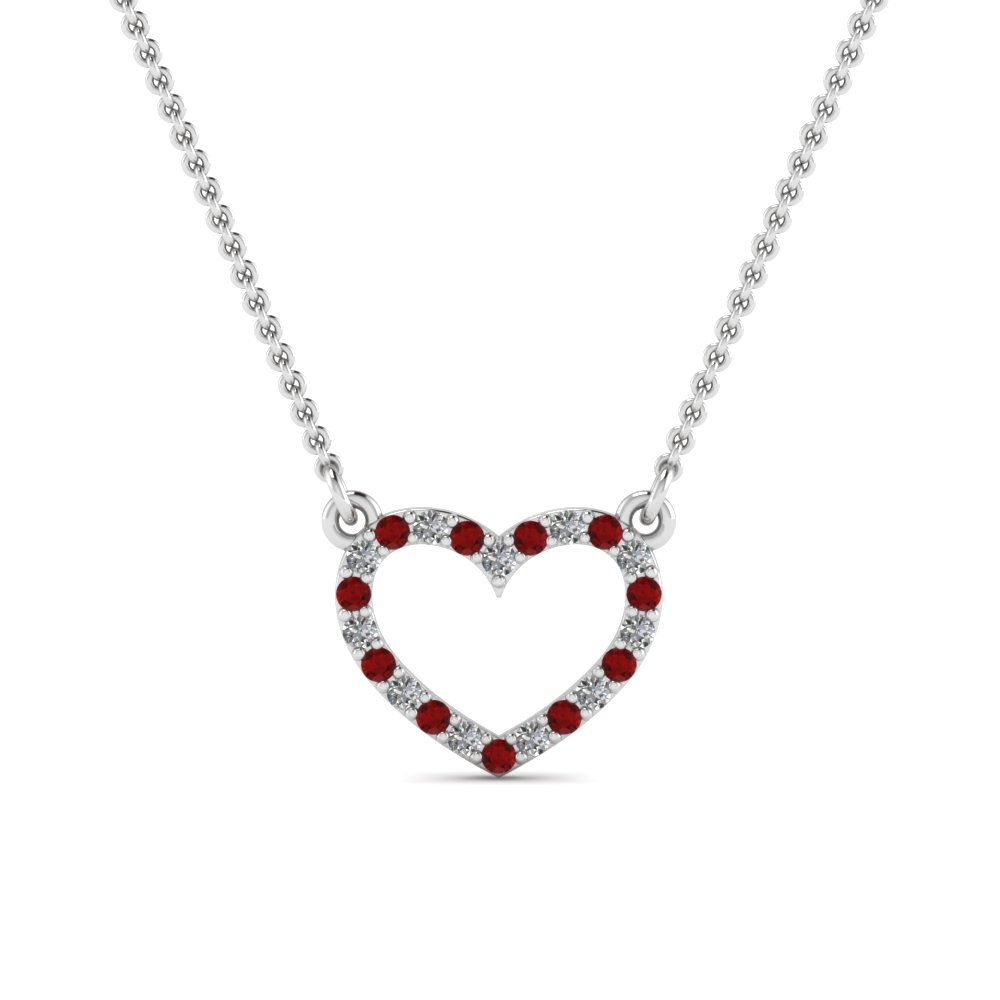 Open heart diamond and ruby pendant in 14k white gold fascinating open heart diamond and ruby pendant in fdpd66415grudr nl wg aloadofball Image collections