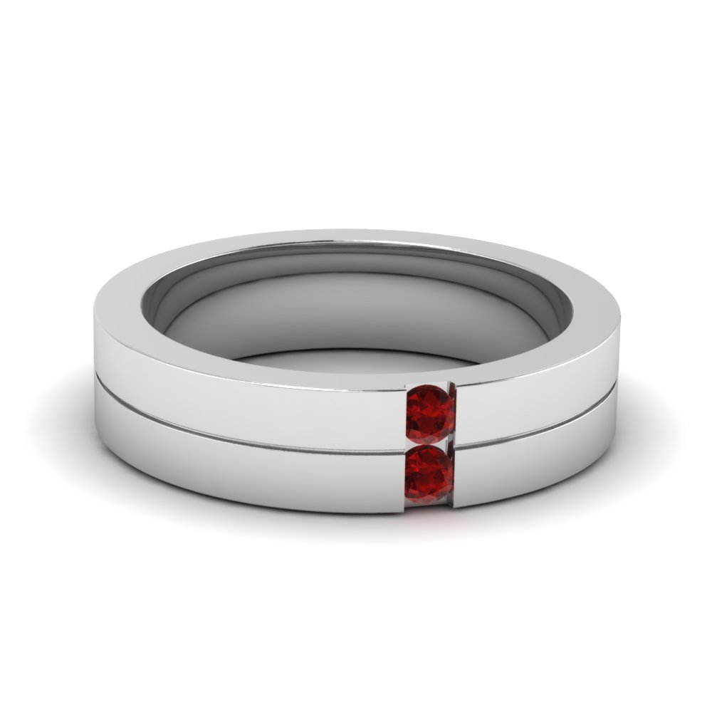 Mens 2 Stone Wedding Band