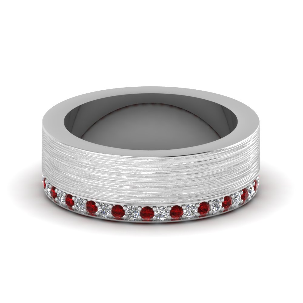 Brushed Diamond Wedding Band With Ruby In FDDB1339BGRUDR NL WG