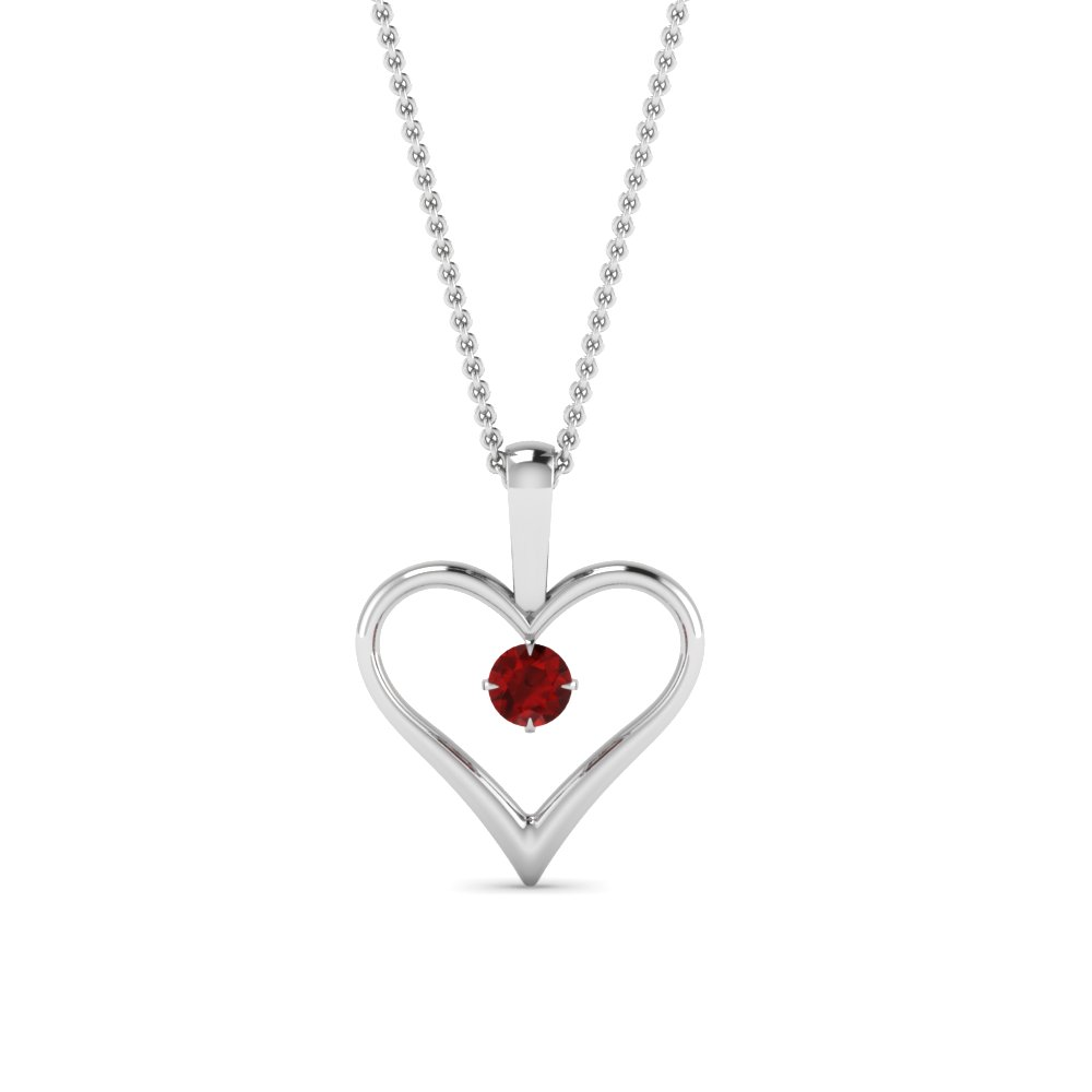 open heart ruby solitaire drop pendant in FDPD60961GRUDR NL WG