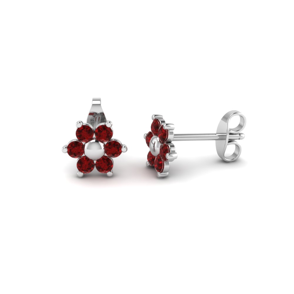 Flower Ruby Stud Earring With Back In Fdear19253grudr Nl Wg
