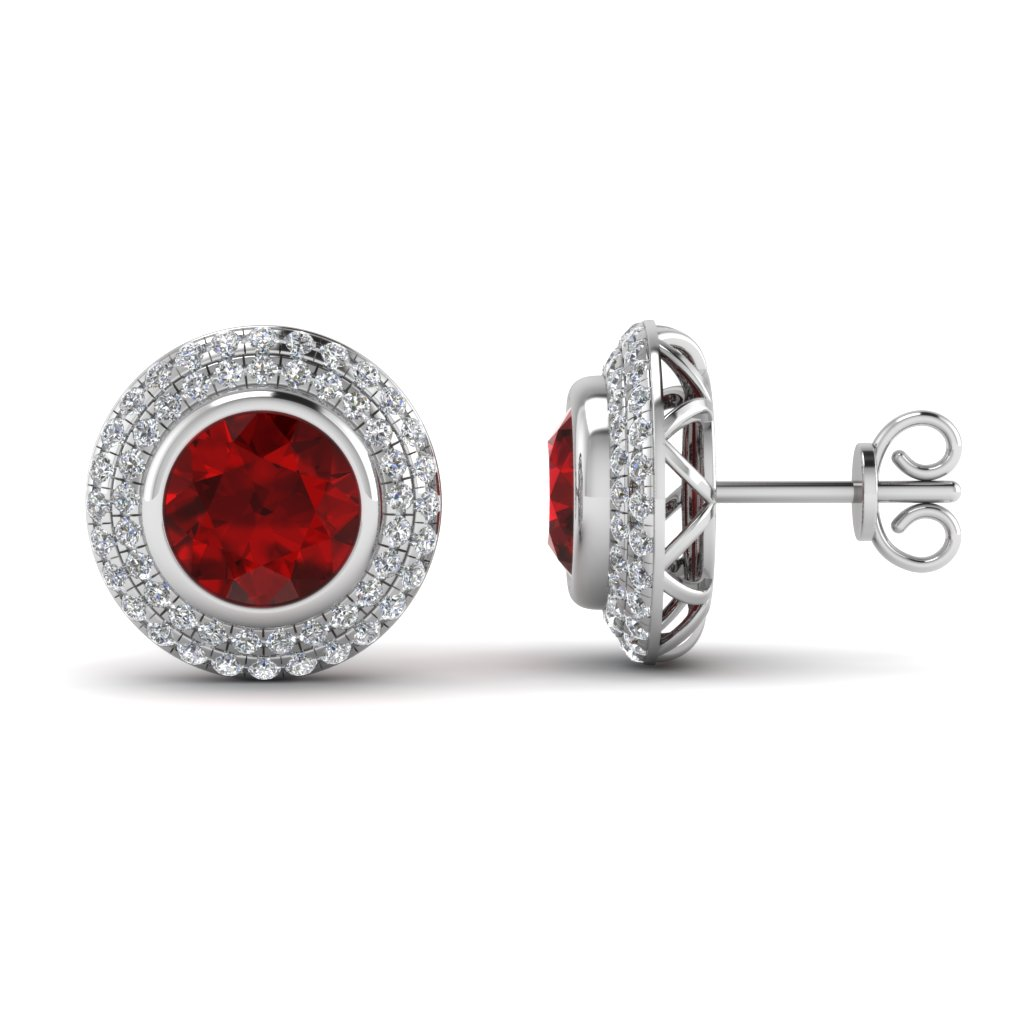Angara Natural Ruby Halo Stud Earrings in Platinum