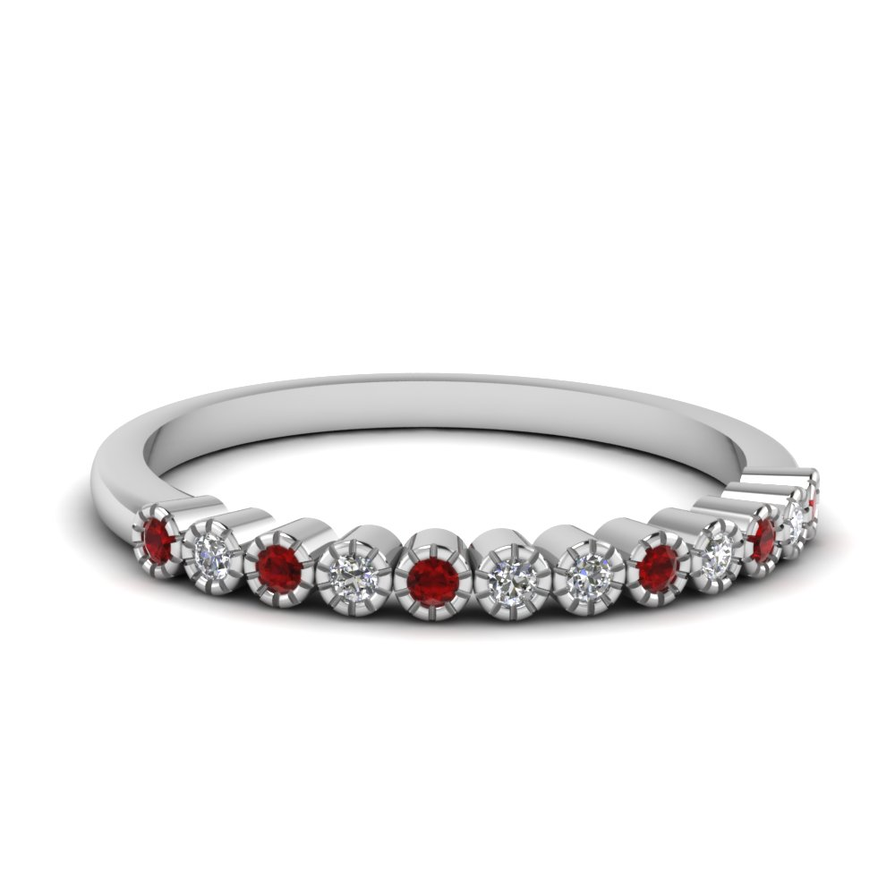 bezel round diamond thin wedding band with ruby in FD121390BGRUDR NL WG