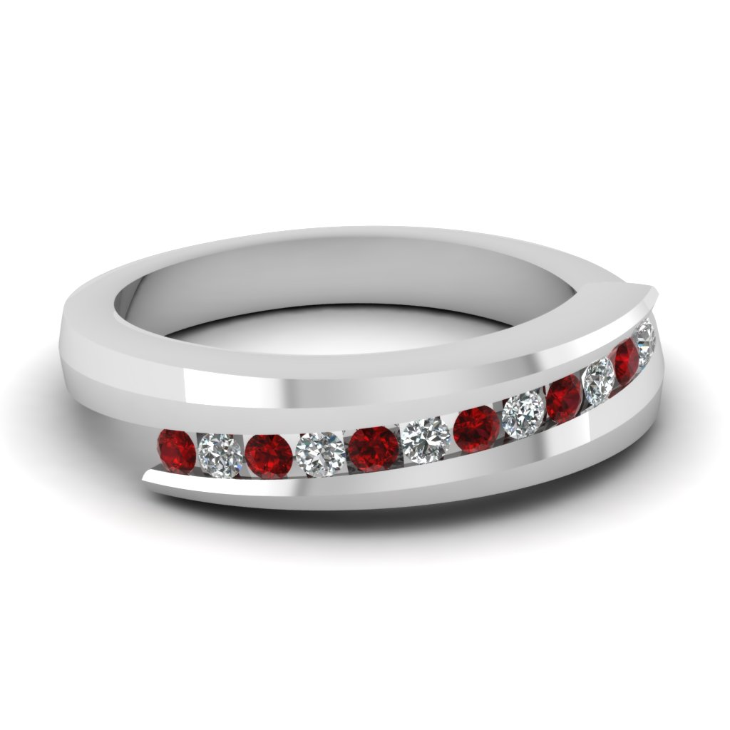 swirl channel diamond wedding band with ruby in FDWB1131GRUDR NL WG
