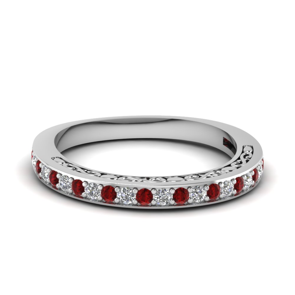 white gold round red ruby wedding band with