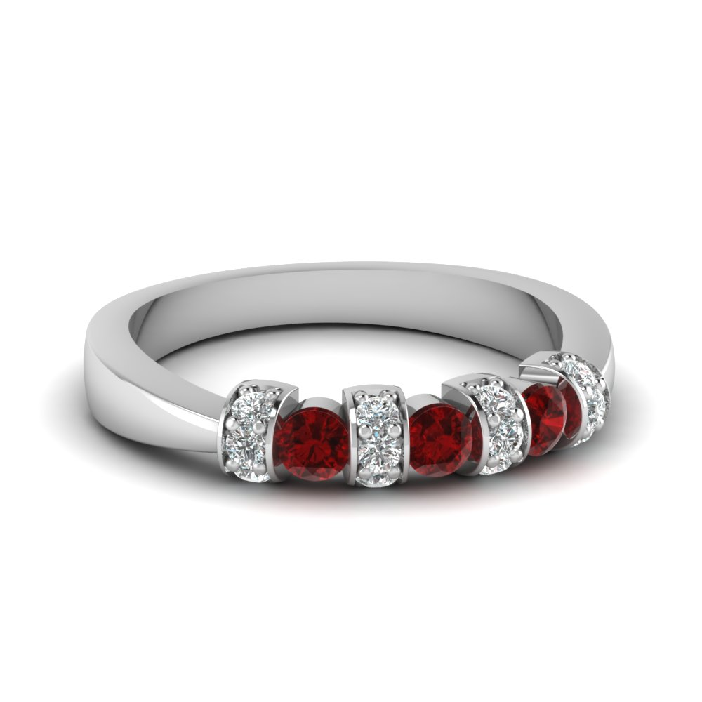 Tapered Pave Ruby Wedding Band