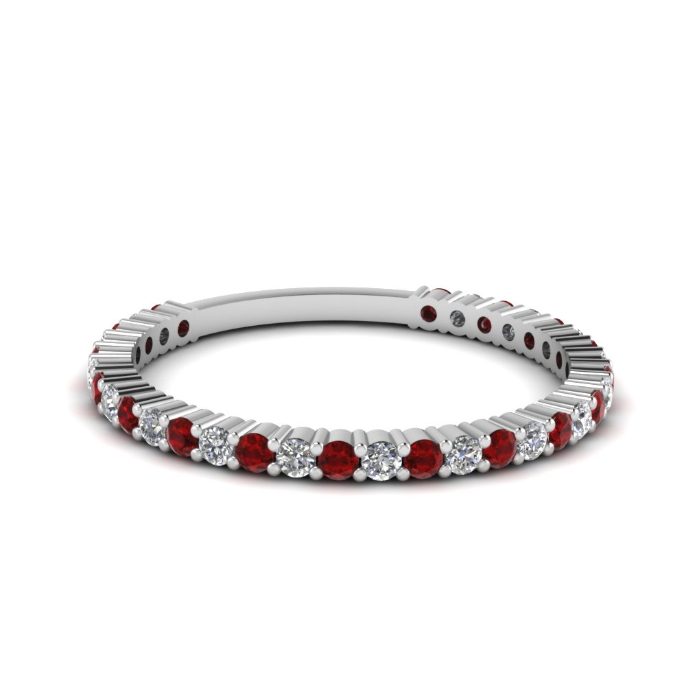 delicate diamond wedding band with ruby in FD121935BGRUDR NL WG