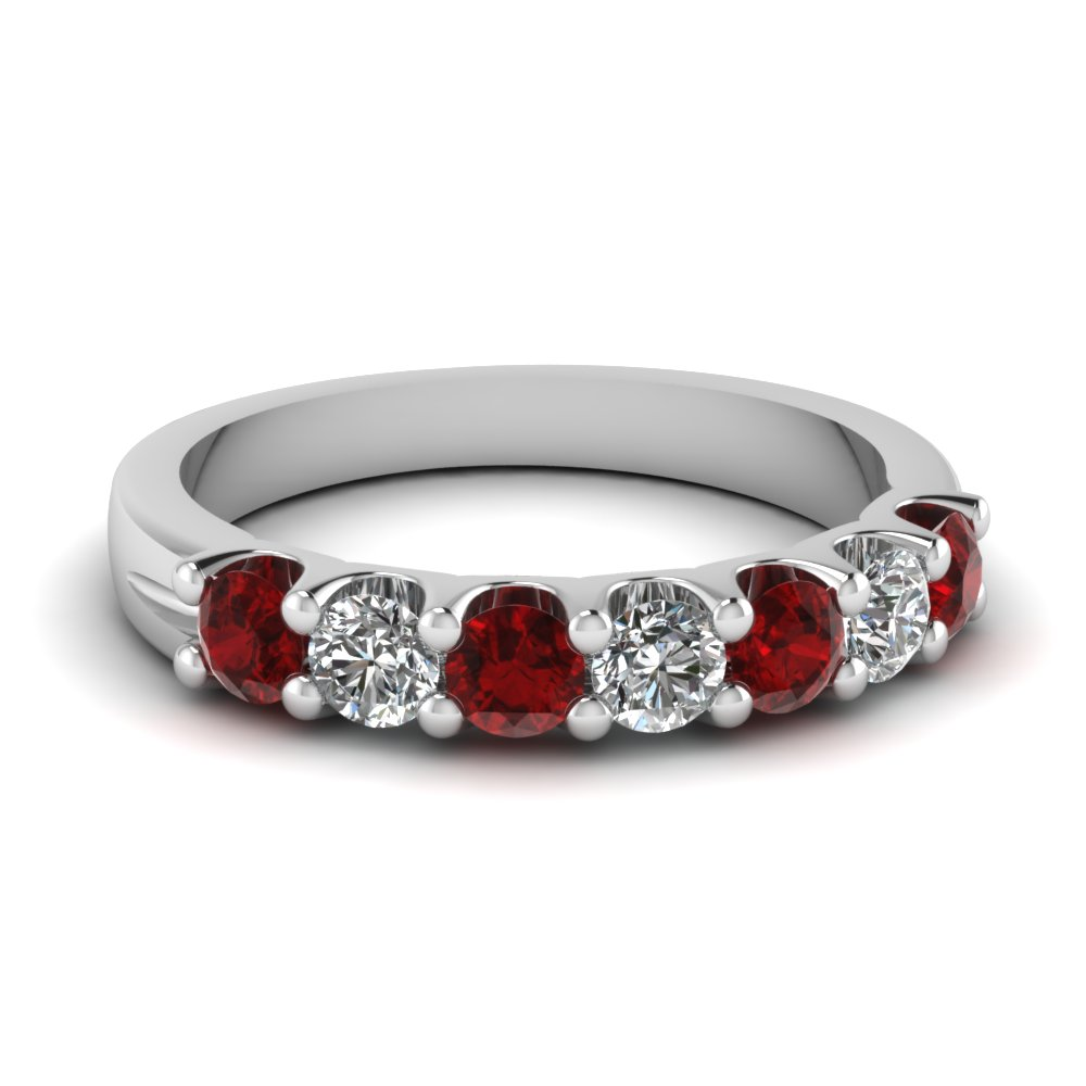 Ruby 7 Stone Round Diamond Anniversary Band In FDWB5200BGRUDR NL WG