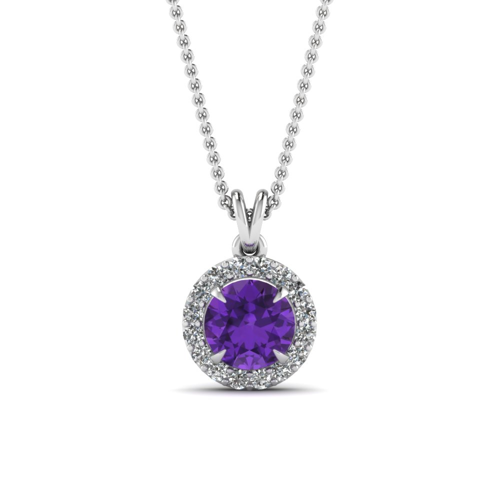 Purple Topaz Halo Pendant Necklace
