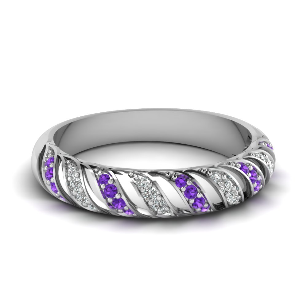 Pave Set Purple Sapphire And Diamond Wedding Band